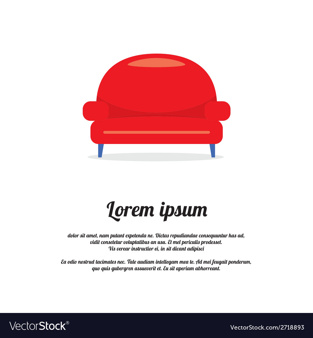 Vintage red sofa vector