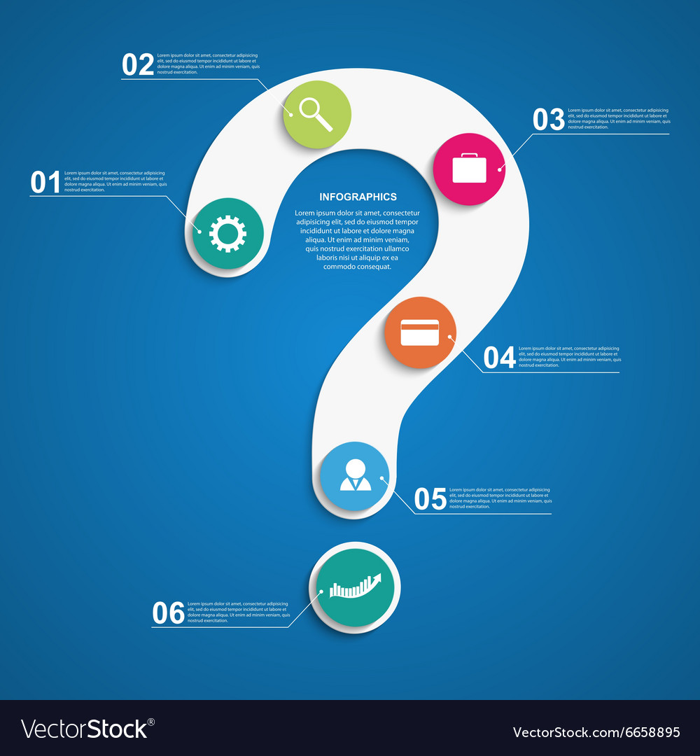 Abstract infographic in the form of question mark vector