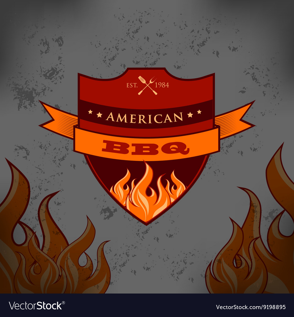 Bbq barbecue logo emblem design vector