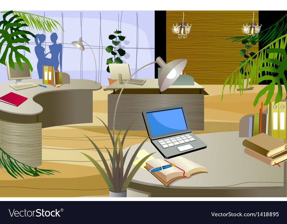 Office interior vector