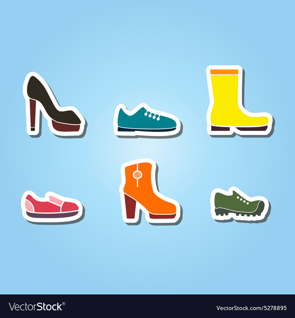 Set of color icons with shoes vector