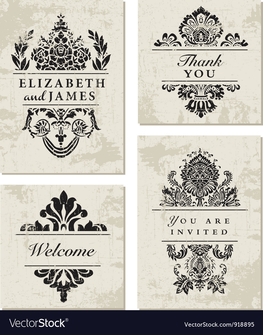 Vintage card designs vector