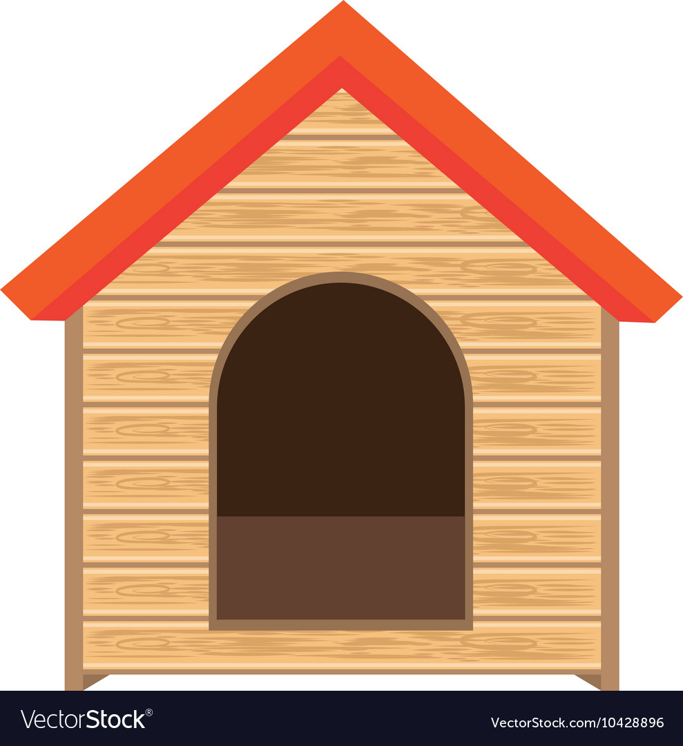 Dog house of wood vector