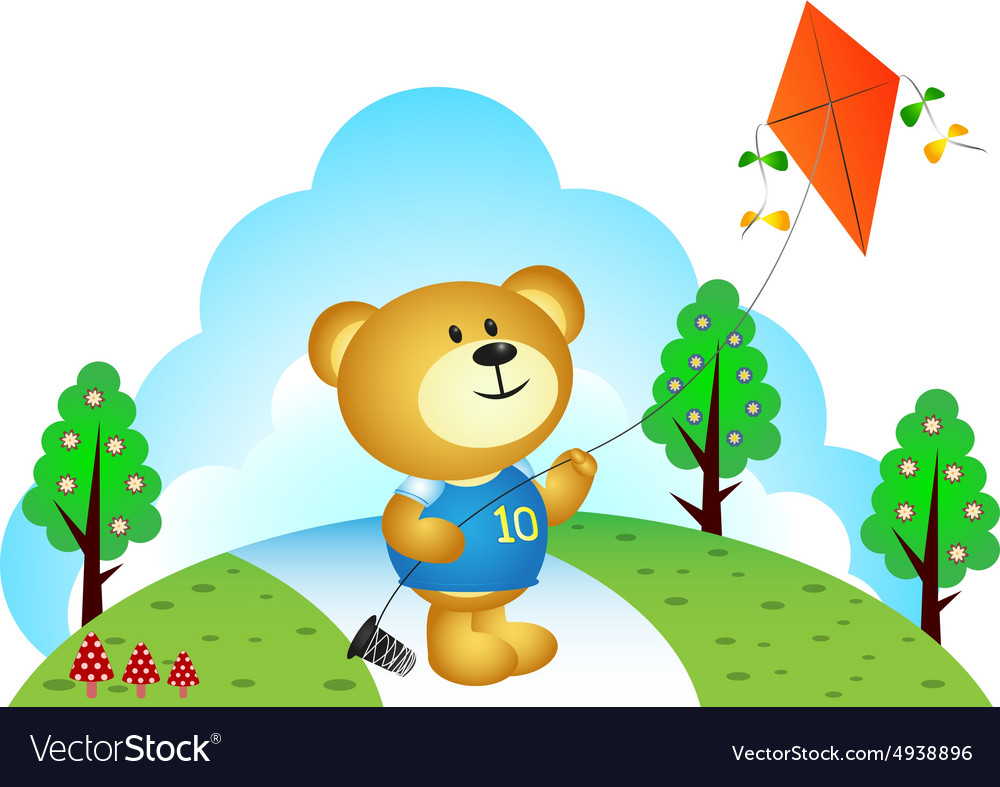 Little bear playing kites at the park vector