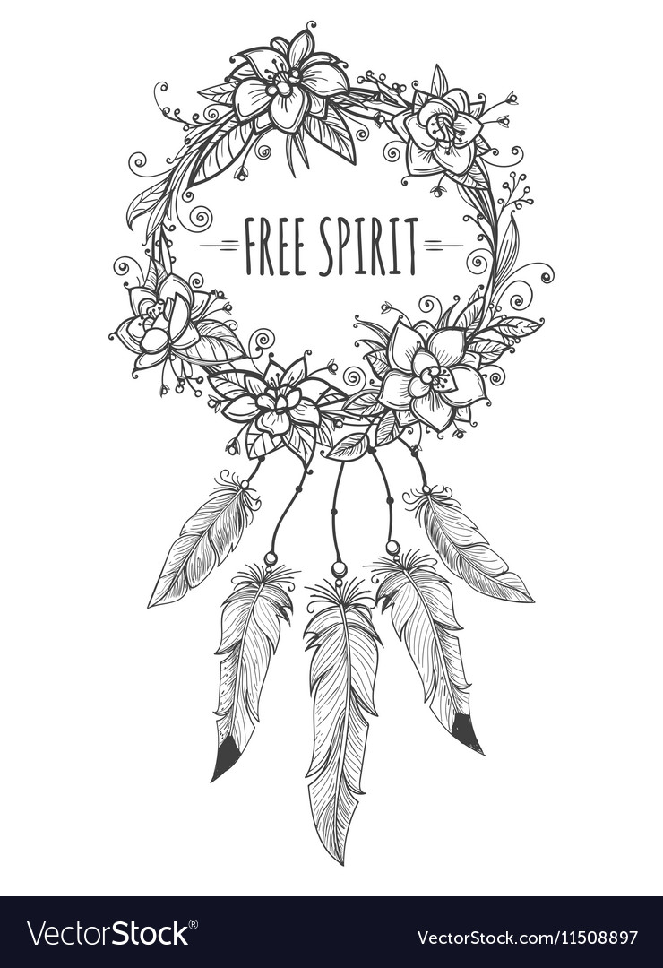 Boho indian decorative wreath sketch vector