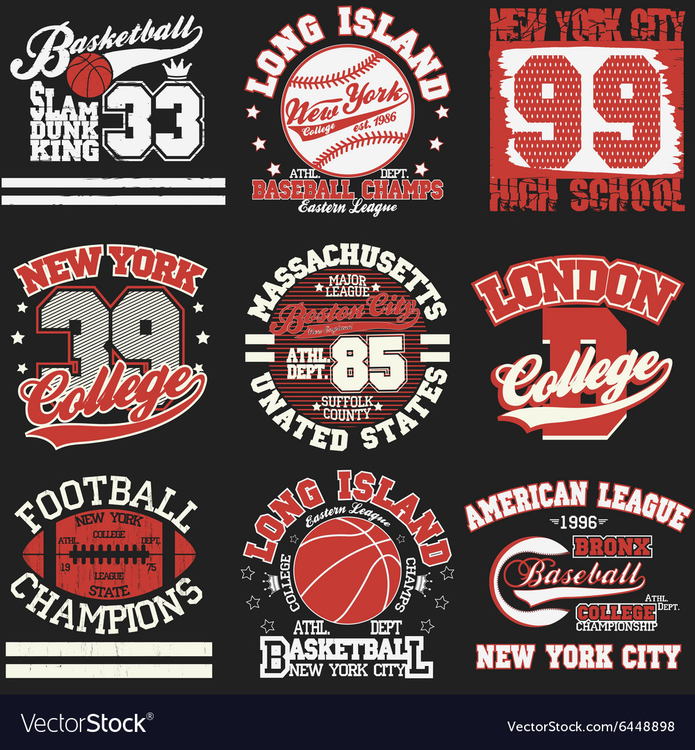 Sport tshirt set vector
