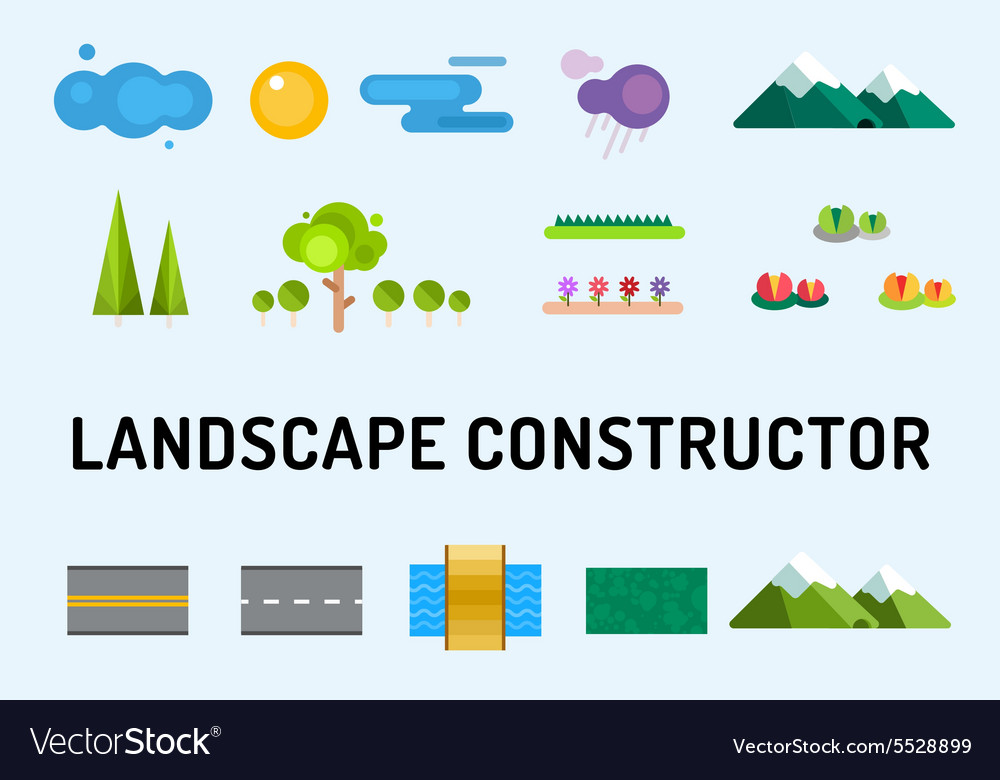 Abstract landscape constructor icons set vector