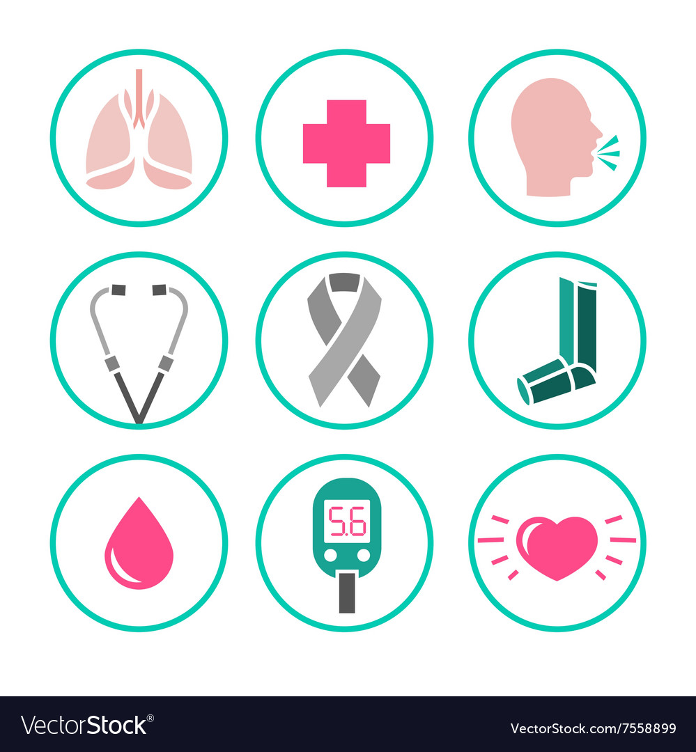 Asthma icons vector