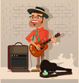 street performer man character sing song vector image