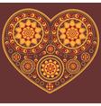 Yellow ornamental heart vector image
