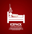 Patient On Bed With Ice Pack vector image