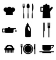 Black restaurant and kitchen icons vector image