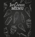 ice cream menu cover - blackboard ice cream poster vector image