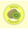 Kiwi fruit slice art label design vector image