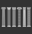 roman and greek columns set vector image