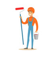 smiling painter wearing orange safety helmet and vector image