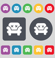 Armchair icon sign A set of 12 colored buttons vector image