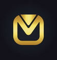 square letter m gold logo vector image