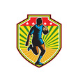 Rugby Player Running Ball Shield Retro vector image