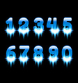 Glowing Blue Numbers Set vector image
