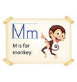 A letter M for monkey vector image