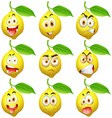 Fresh lemon with facial expressions vector image