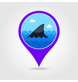 Shark fin pin map icon Summer Vacation vector image