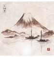 Two fishing boats and Fujiyama mountain vector image