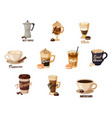 different hot coffee with cream in cups vector image