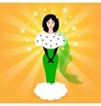 Elegant fairy princess in a green dress vector image