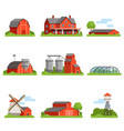 farm house and constructions set agriculture vector image