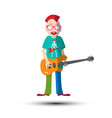 funky guitar player musician man isolated on vector image