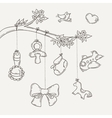 Greeting card with a doodle baby elements vector image