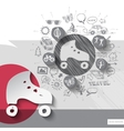 Hand drawn roller skates icons with icons vector image
