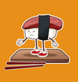 kawaii sushi seafood wooden plate and chopsticks vector image
