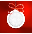Christmas ball cutted from paper on red  EPS8 vector image