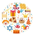 Purim icons set in round shape isolated on white vector image