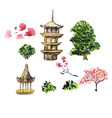 Card or poster with asia landscape building and vector image