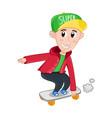 little boy riding on skateboard vector image