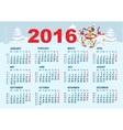 2016 Calendar template Monkey goes skiing vector image