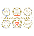 Set of Valentines day wreaths and other design vector image