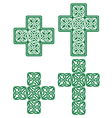 Celtic cross - set of traditional green designs vector image vector image