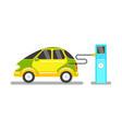 flat electric car charging at station vector image