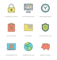 Flat line simple icons set Thin linear stroke vector image