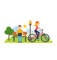 guy running on freelance girl rides bicycle vector image