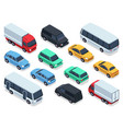 isometric vehicles and cars for 3d city traffic vector image