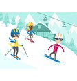 Multicultural people skiing and snowboarding vector image