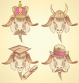 Sketch unusual goats set vector image