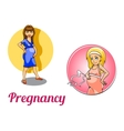 Two pregnancy woman characters vector image