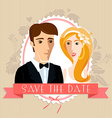 Wedding invitation card with wedding couple vector image